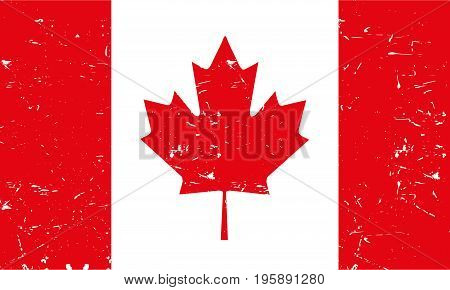Light Canadian flag with texture on a white background