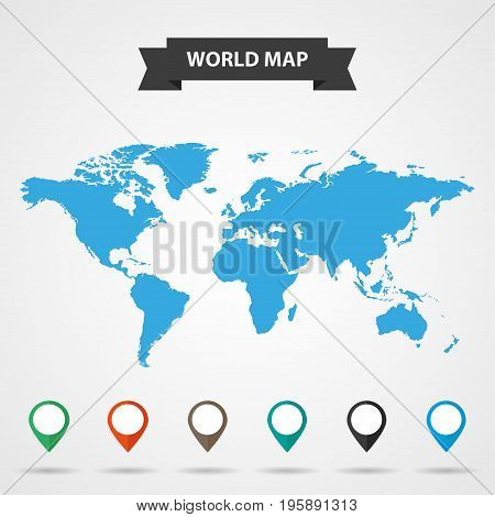 Blue map of the world with shadow on a gray background