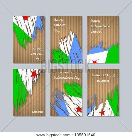 Djibouti Patriotic Cards For National Day. Expressive Brush Stroke In National Flag Colors On Kraft