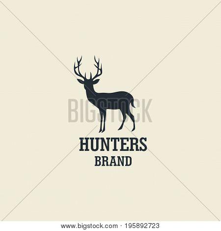 Hunting, Deer Silhouette  Template Vector Design Logo