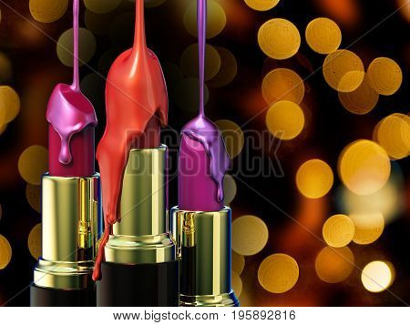 Red lipstick and multi-colored droplet nail polish on bokeh background. 3d rendering