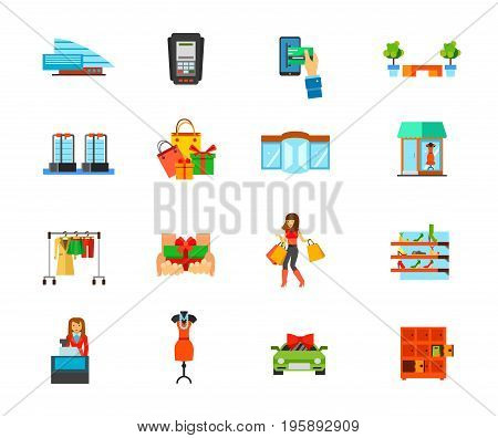 Shopping mall icon set. building Dataphone E-payment Bench Sensor gates Holiday purchase Revolving door Showcase Fashion store Free gift Woman shopping Shoe store Cashier Dress Special offer Lockers