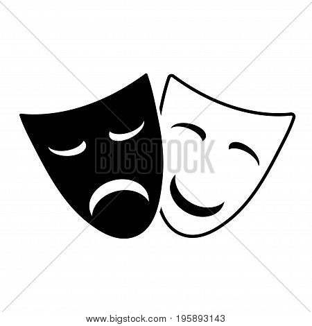 Masks emotions. Funny and sad mask on a white background