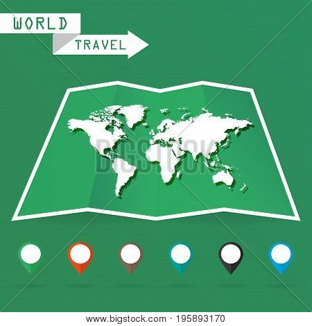 White map of the world with shadow on a green background