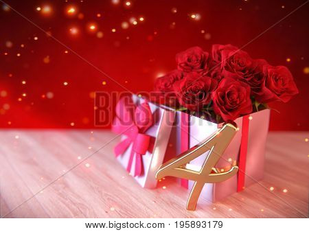 birthday concept with red roses in gift on wooden desk. 3D render - fourth birthday. 4th
