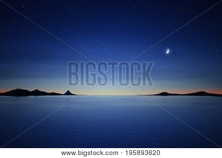 3d rendering of a silence night with the moon and stars