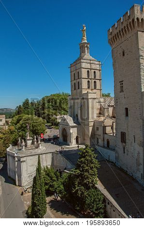 View of church with steeple tower next to the Palace of the Popes of Avignon, under a sunny blue sky. Located in the Vaucluse department, Provence-Alpes-Côte d'Azur region, southeastern France