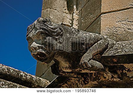 Close-up of a gargoyle on the roof of the Palace of the Popes of Avignon, under a sunny blue sky. In the Vaucluse department, Provence-Alpes-Côte d'Azur region, southeastern France. Retouched photo
