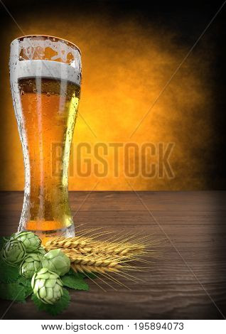 glass of beer with barley and hops. 3D render