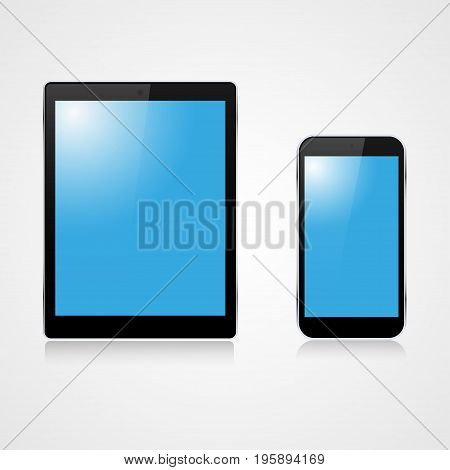 Realistic phone and tablet with highlights on a gray background. Telephone and tablet with shadows
