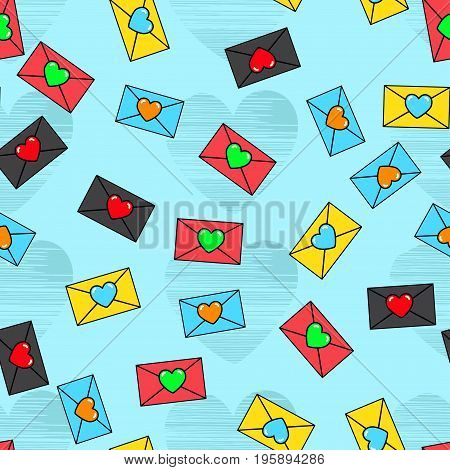 Abstract Seamless Pattern For Girls, Boys, Clothes. Creative Vector Background With Envelopes, Lette