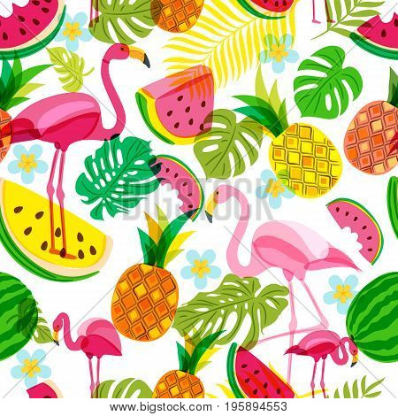 Vector Seamless Tropical Pattern With Pink Flamingo, Palm Leaves, Watermelon And Pineapples. Summer