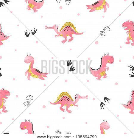 Seamless cartoon dinosaurs pattern. Vector dino background. Baby print.