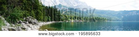 Panorama Eibsee, mountain lake in the Bavarian Alps, Germany