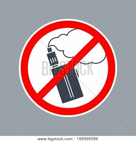 Prohibition sign no vape or e-cigarette inside of round. Vector flat simple red and black illustration on white background.