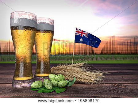 concept of beer consumption in New Zealand- 3D render