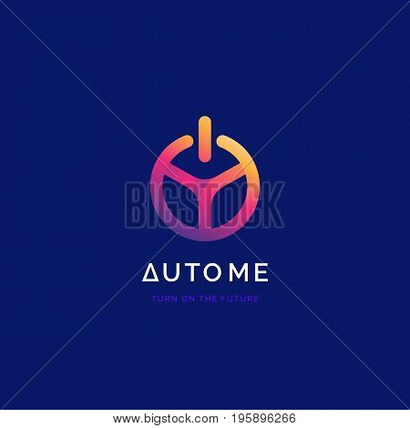 Steering wheel with power button logo. Driverless car symbol. Driving school logo.