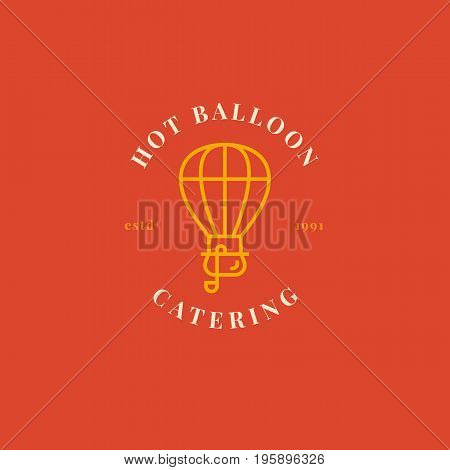 Creative hot air ballon logo with pot and soup ladle. Catering badge