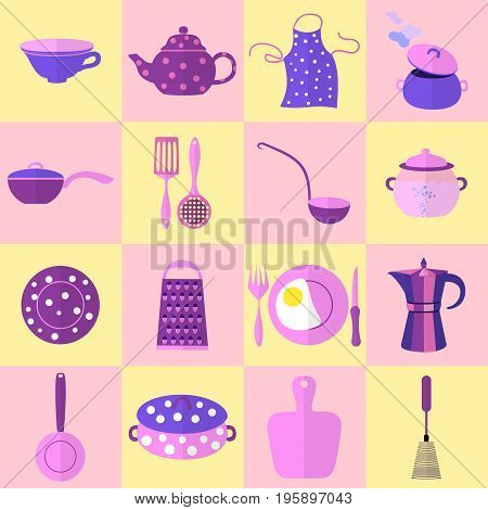 Sixteen Kitchen Tools and Utensils in Set, Each Placed on Cage. Vector Illustration Made in Purple, Pink and Blue Colors with Flat Shadowing. Kitchen Household Clipart. Vector EPS 10