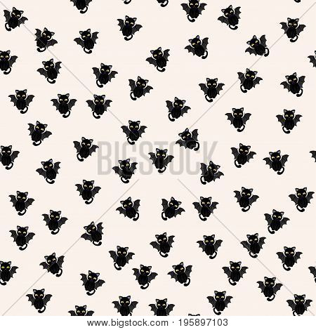 Abstract seamless pattern for girls boys clothes. Creative vector background with cats with wings.
