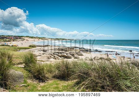 Rocha, Uruguay  - December 22, 2012: Punta del Diablo Beach - Popular tourist site and Fisherman's place in the Uruguay Coast