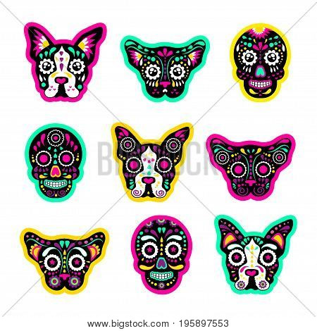 Fashion patch badges with dogs bulldog Skulls calavera and other. Very large set of girlish and boyish stickers patches in cartoon isolated.Trendy print for backpacks things clothes
