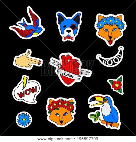 Fashion patch badges with dogs bulldog fox swallow tattoo puppy and other. Very large set of girlish and boyish stickers patches in cartoon isolated.Trendy print for backpacks things clothes