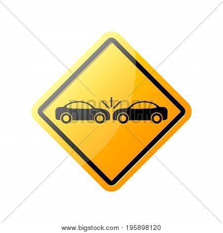 Crashed Cars rhombus yellow danger sign. Vector.