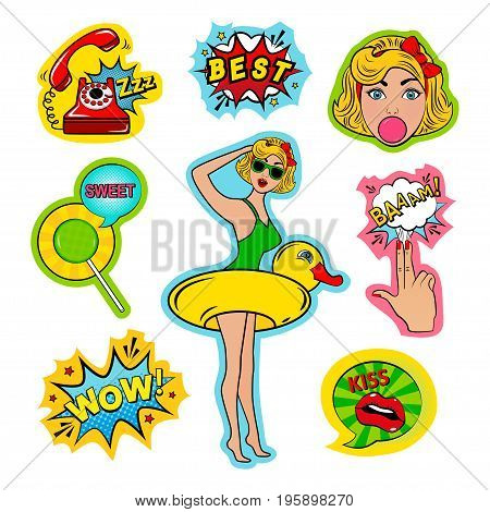 Fashion patch badges in pin up style with blonde girl duck tag cloud and other. Very large set of girlish and boyish stickers patches in cartoon isolated.Trendy print for backpacks things clothes