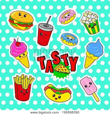 Fashion patch badges with drink fast food donuts ice cream burger and other. Very large set of girlish and boyish stickers patches in cartoon isolated.Trendy print for backpacks things clothes