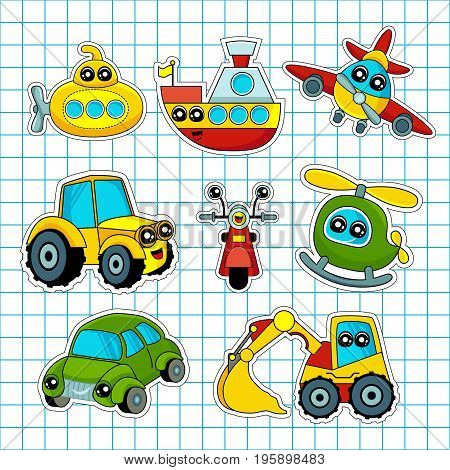 Fashion patch badges with ship car aircraft scooter motorcycle and other. Very large set of girlish and boyish stickers patches in cartoon isolated.Trendy print for backpacks things clothes