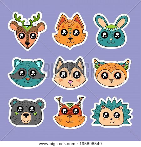Fashion patch badges with deer squirrel hare rabbit owl raccoon and other. Very large set of girlish and boyish stickers patches in cartoon isolated.Trendy print for backpacks things clothes