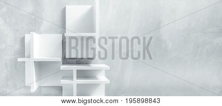 White background with modern furnituresoft lighting interior background It's show some structure of shelves with blank space design and concrete background minimal abstract background.