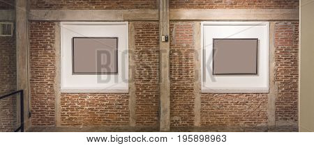 interior design wall with frame to shw texture on brick wall minimal abstract background lowkey lighting.