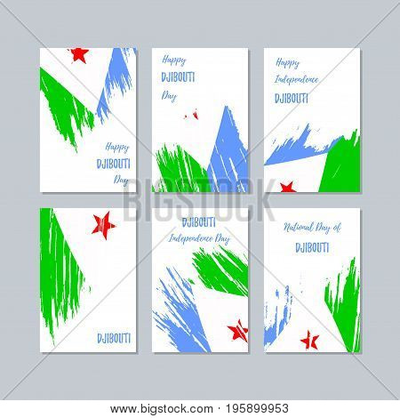 Djibouti Patriotic Cards For National Day. Expressive Brush Stroke In National Flag Colors On White
