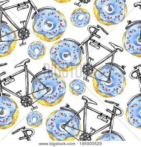 Watercolor seamless pattern bicycles with donuts wheels. Colorful summer background. Original hand drawn illustration. Delicious food. Lifestyle and sport.