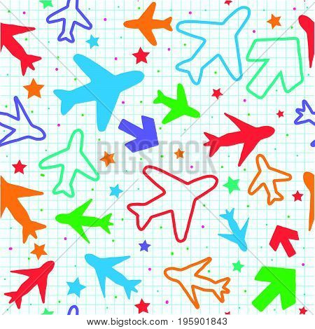 Kids seamless pattern with color planes arrows and stars..Hand drawn planes and arrows doodle style. .Simple background with a grid for decoration. Vector illustration.