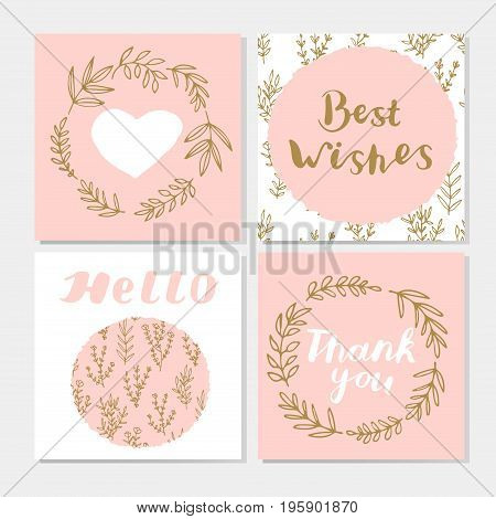 Set of cute postcards with hand lettering, laurel wreaths, branches, leaves, heart. Best wishes. Thank you. Hello. Vector illustration.
