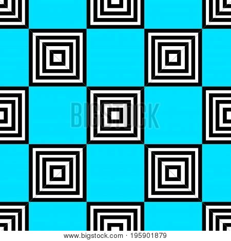Blue linear checkered seamless pattern. Geometric background with black and white squares. Basic modern design for website, cards, wrapping paper. Vector illustration.