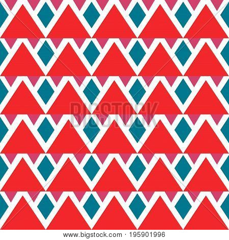 Bright red, blue, white seamless abstract background with triangles, rhombuses. Infinity tribal geometric pattern. Vector illustration.