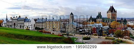 Panoramic view of Frontenac Castle in Old Quebec City, Canada
