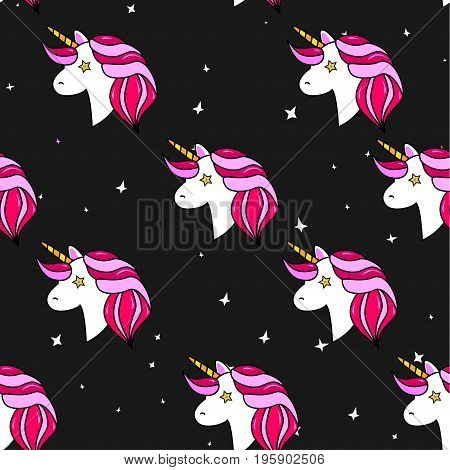 Seamless Pattern With Unicorn, Pegasus, Pony Head And Stars.cute, Lovely Magic Background.fantasy Wa