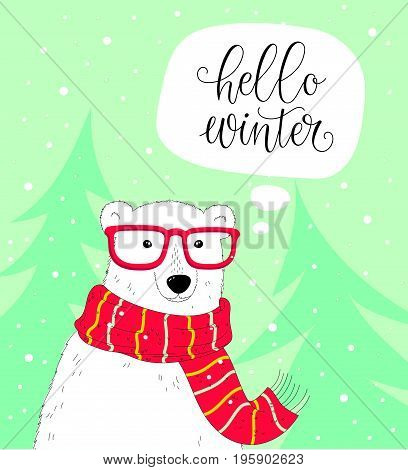Vector winter background with cute polar bear. Cozy winter illustration. Hello winter lettering.