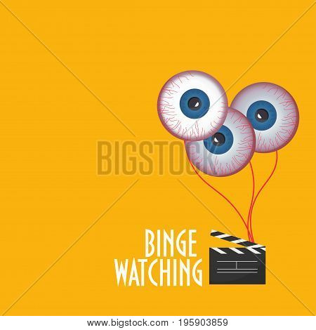 Illustration to promote Binge Watching or marathon viewing. Watching multiple episodes of tv show movies or series in rapid succession by means of digital streaming or on demand or subscription.