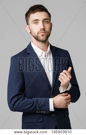 Business Concept - Portrait Handsome Business man prepare working suit with confident face. White Background.