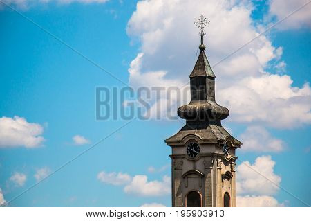 Orthodox church tower with clock in east Europe Belgrade