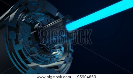 Abstract Futuristic Scene With A Blue Laser. Futuristic Concept 3D Illustration