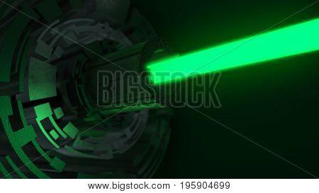 Abstract Futuristic Scene With A Blue Green. Futuristic Concept 3D Illustration