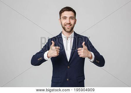 Business Concept - Portrait Handsome Business man giving double thump up. Isolated on White Background.