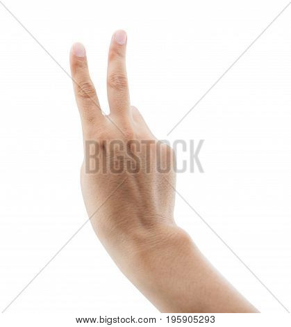 man raising two fingers up on hand it is shows peace strength fight or victory symbol and letter V in sign language on white background clipping part